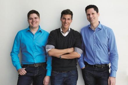 Florian Kaufmann, CTO, unser Interviewpartner Dominik Romer, CEO, und Dr. Markus Grimm, VP Development von adnymics