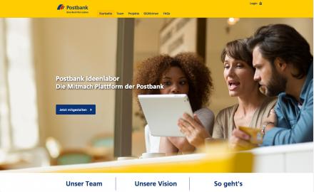 Das Postbank Ideenlabor basiert auf der innosabi crowd Software und ermöglicht es, dass neue Produkte oder Dienstleistungen der Bank in enger Zusammenarbeit mit den Kunden und deren Bedürfnissen entwickelt werden.