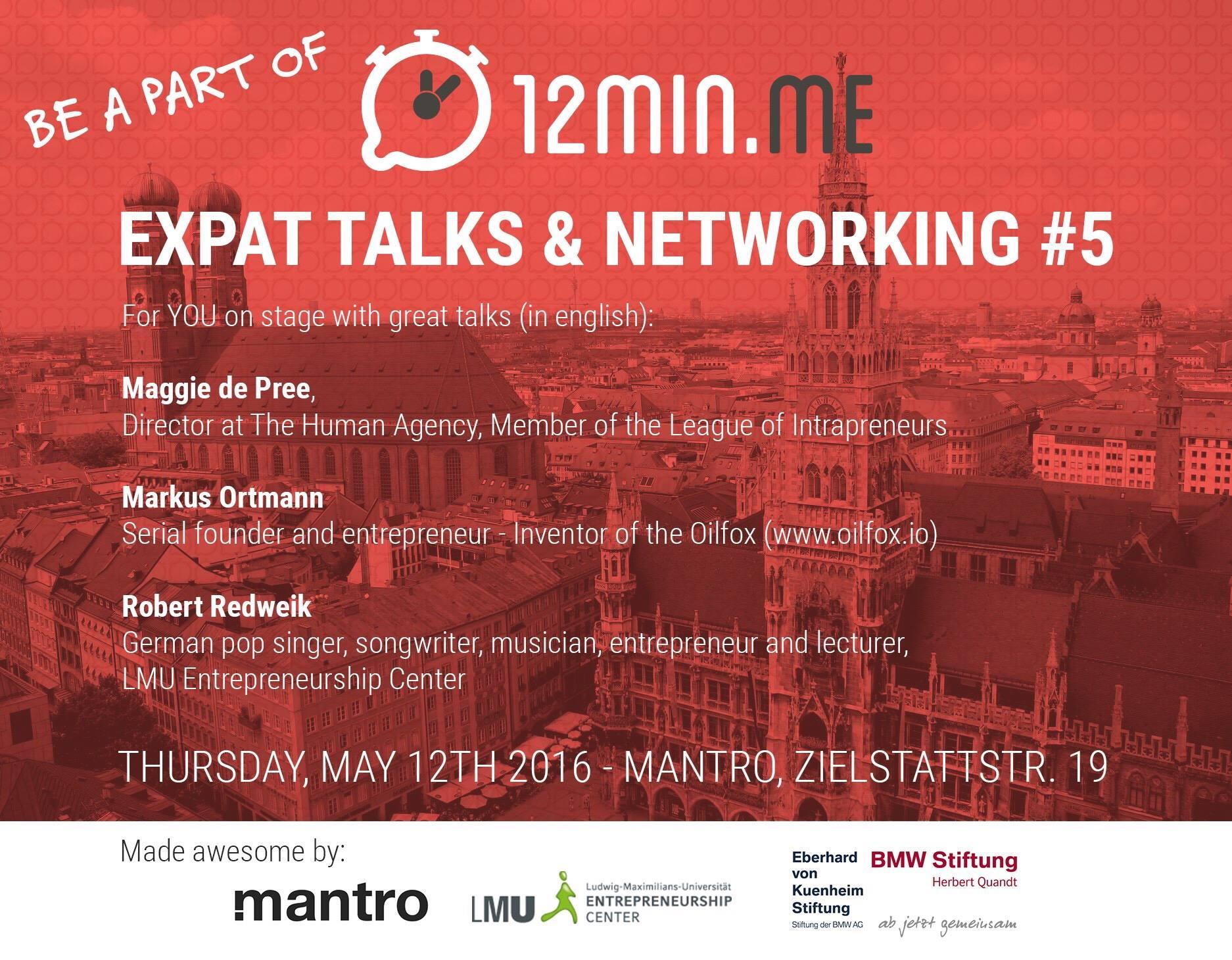12min.me - EXPAT Talks & Networking #5 am 12. Mai 2016 bei mantro.net in München.