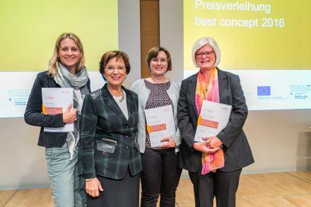 Emilia Müller mit den drei Preisträgerinnen von best concept. © guide