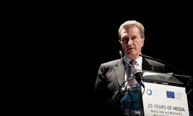 Günther Oettinger at the podium