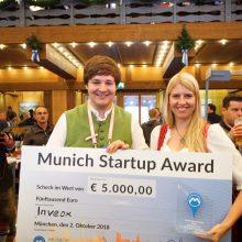 Maria Driesel und Dominik Sievert, Gründer des Health-Startup Inveox und Gewinner des Munich Startup Awards 2018