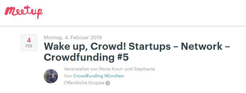Wake up, Crowd! Startups – Network – Crowdfunding #5 mit dem Schwerpunktthema Crowdfunding Aftersales