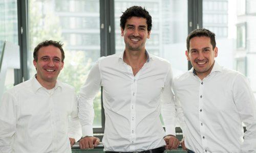 Die Gründer der Global Savings Group: Andreas Fruth, Gerhard Trautmann und Adrian Renner (v.l.), Cashback