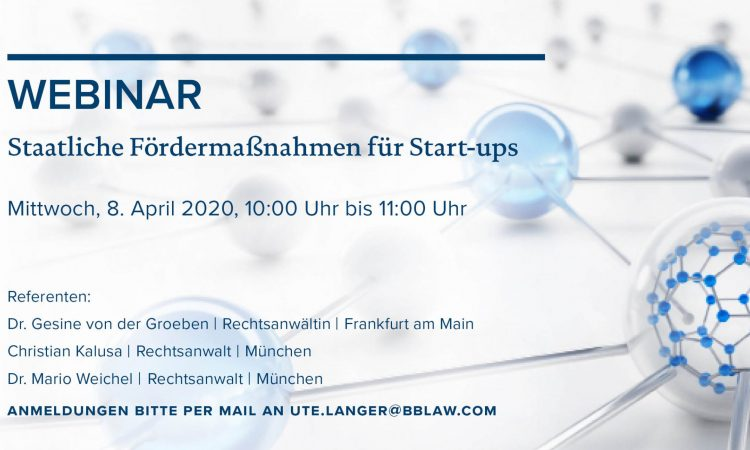 WERK1 Webinar - Staatliche Fördermaßnahmen für Startups
