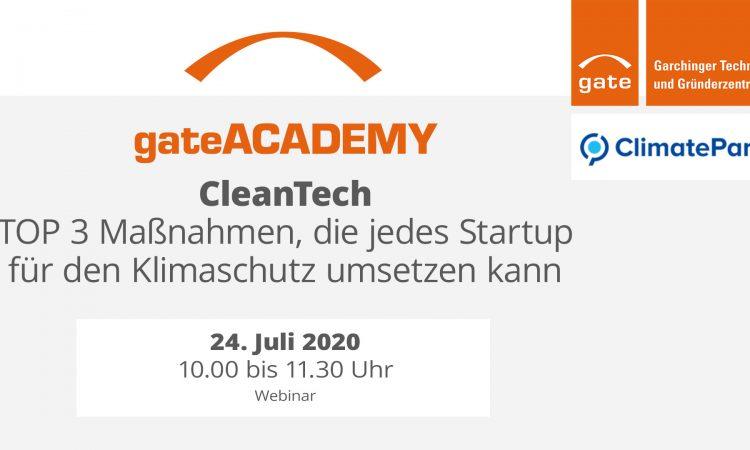 gateACADEMY CleanTech - Top 3 Klimaschutz-Maßnahmen für jedes Startup