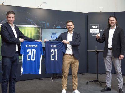 Nicolas Evans, Head of Football Research bei der FIFA, Maximilian Schmidt, Mitgründer und CRO von Kinexon Sports & Media, und Kinexon-Gründer Oliver Trinchera. (v.l.)